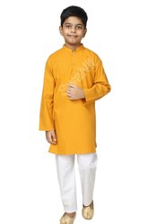 Cotton Turmeric Yellow Stitched Kurta Pajama for Kids