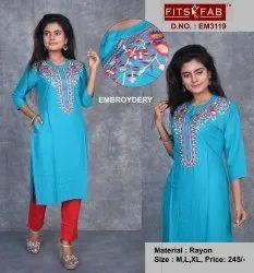 Rayon Formal Wear Ladies Embroidered Kurti, Wash Care: Handwash