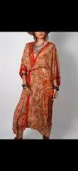 Women's Long Sleeves Vintage Wrap Dress With Belt