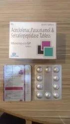 Aceclofenac Paracetamol & Serratiopeptidase Tablets.