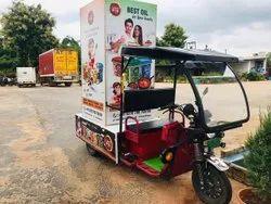 Advertising Van (On Electric E Rickshaw ), Maximum Run Per Charge: 80-100 Km, Loading Capacity: Upto 500 Kg