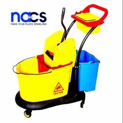 Mop Wringer Trolley 3 bucket HDPE Heavy Duty