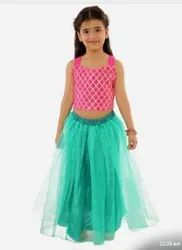 PINK AND SKY BLUE Indian Party Wear Kids Lehenga Choli, Size: 24 TO 36