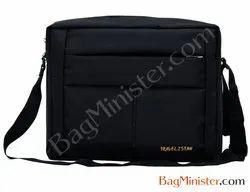 Hand Handled Polyester Black Colour Sling Bag, For Office, .400 Gram