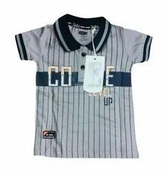 Half Sleeve Grey Kids Cotton Collar Tshirts, Size: Medium