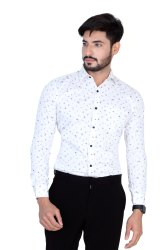 Mens White Printed Cotton Shirt
