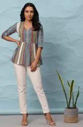 Janasya Women's Multicolor Cotton Top(J0307)