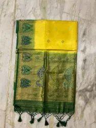 Silk2sarees 6.3 M ( With Blouse Piece) Yellow Banarasi Silk Meena Kari Saree