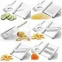 6 In 1 Stainless Steel Kitchen Chips Chopper , Cutter Slicer And Grater With Handle