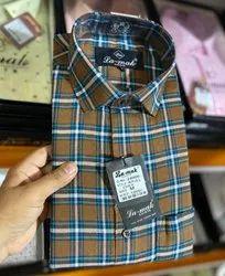 Checks Collar Neck Men Checkered Shirt, Machine wash
