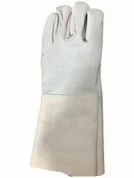 14 Inch Plain Split Leather Hand Gloves, Finger Type: Full Fingered