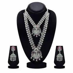 Silver Jewelemarket氧化镀镀绿色和粉红色双项链套装,场合:婚礼