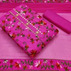 Cotton Pink Ladies Embroidered Unstitched Suit