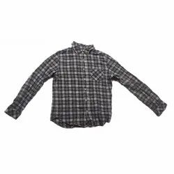 Green and White Collar Neck Mens Check Shirt, Handwash, Size: Small