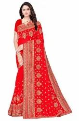 Janasya Women's Red Poly Georgette Embellished Saree With Blouse Piece(SAR082)