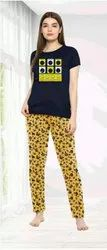 Printed Half Sleeves Blue Yellow Ladies Cotton Night Suit, Small, T Shirt and Pajama