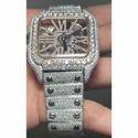 Moissanite Studded IcedOut Watch, 41mm Dial, EF/VVS Diamond, Wrist Watch 10