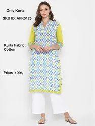 Daabu Blue Women Printed Cotton Blend Straight Low Range Kurta