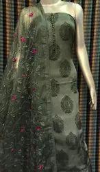 Cotton Checks Handwork Salwar Suit With Orgenza Dupatta