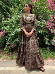 Taj Cotton Women Ladies Brown Long Dress