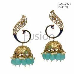 Fusion Arts Kundan Peacock Jhumka Earrings