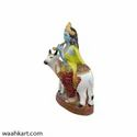 Shree Krishna Playing Flute With Cow Statue