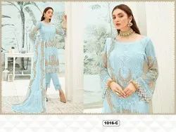 Casual Wear Normal Salwar Georgette Full Sleeves Embroidered Suit, Size: Free