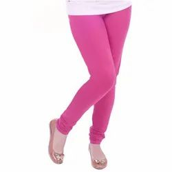 Churidar Mid Waist Ladies Pink Plain Cotton Lycra Legging, Size: Medium