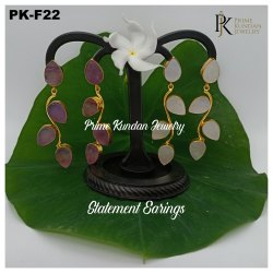 PK-F22 Carved Jade Earring