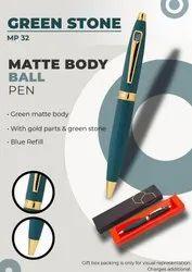 Matte Body Ball Pen Green Stone