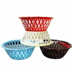 Round Red Plastic Vegetable Basket, For Home, Size: 8 Inch (Diameter)