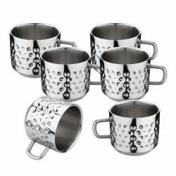 Stainless Steel Double Wall Hammered Tea Cup Set, Set Of 6
