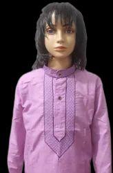 Polycotton Casual Wear Lucknowi Collar Kadhai Kurta With Cotton Pajama, Size: 14 To 38
