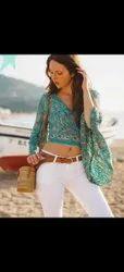 Bohemian long sleeves v neck ruffle blouse off shoulder tie waist wrap top