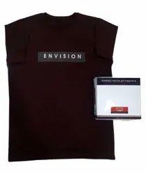 Half Sleeve Cotton Mens Dark Brown Round Neck T Shirt, Size: Medium