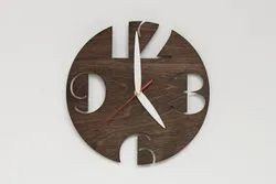 Wooden Analog Modern Wall Clock With Quartz Movement, For Home, Size: 11 Inch