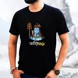 Round Half Sleeve Mens Black Shiva Simple T-Shirt