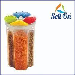 Plastic 4 Section Jar, 2500 ml, Multi Colour