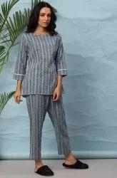 Female Janasya Women's Blue Cotton Night Suit Set(NW024)