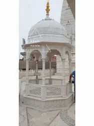 White Marble Stone Chatri, For Temple, Size: 6x6ft