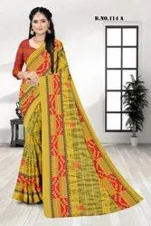 Casual Wear Digital Print Printed Viscose Saree Green, 6 m (with blouse piece)