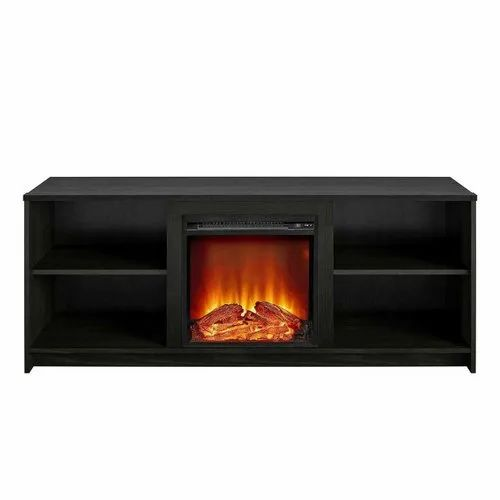 Tv Stand Media Storage, Black Media Storage Tv Stand And Electric Fireplace