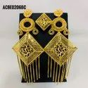 African Wedding Earrings Ring Set Ethnic Jewelry Bride Gold Plated