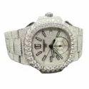 DEF VVS Moissanite Studded Diamond Watch, Men Iced Out Diamond Wrist Watch 7