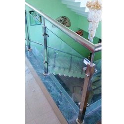 Silver Stainless Steel Interior Balcony Railing, Material Grade: SS304