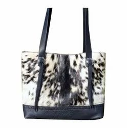 Women Leapord Print Printed Leather Hand Bags, Size: 31.7 cm X 10 cm X 26 cm
