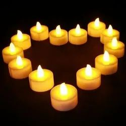 Yellow Round LED Light Candle Multicolor 10 Pc Pack, For Axcel