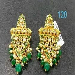 Grass Green And Gold Western Kundan Earring Set For Women And Girl Bijoux