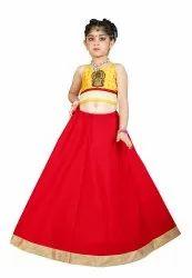 Festive Wear Red Kids Girls Ethnic Lehenga Choli, Size: 1 to 16 Years