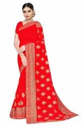 Janasya Women's Red Poly Georgette Embellished Saree With Blouse Piece(SAR083)